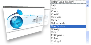 Filtermist International - Choosing country on global website