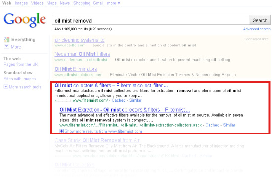 Filtermist in Google search results for 'oil mist removal'